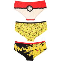 Pokemon Pikachu Poke Ball Panty 3 Pack Hot Topic ($16) ❤ liked on Polyvore featuring intimates, panties, cotton panty and cotton panties