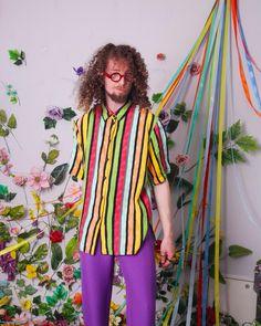 90s vintage shirt rainbow striped retro blouse button up | Etsy Vintage Shirts, Vintage Outfits, Vintage Clothing, Velour Tops, Orange Blouse, Pastel Purple, City Style, Kawaii Fashion, Unique Vintage