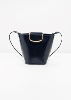 Other Stories | Leather Bucket Bag  in Dark Blue