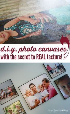 MUST PIN!  Best DIY Photo Canvas tutorial out there!   Learn the secret to creating REAL canvas texture with this full tutorial by Designer Trapped in a Lawyer's Body. Mod podge onto canvas and to get texture, mod podge on top and 'stamp' with blank canvas