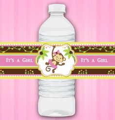 Water Bottle Wraps Labels for Pink Girl Monkey Jungle Baby Shower Printables for Baby Girl DIY  - ONLY digital file - you print. $3.50, via Etsy.