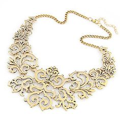 HAVE Gold - Vinatge Hollow Flower Statement Necklace $2.89 - 45cm in Golden/Silver of Alloy  #01074074 - GOOD quality