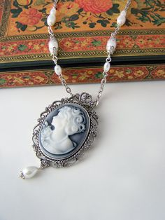 Cameo necklace Pearl victorian cameo necklace Grey cameo pendant Lady Silhouette necklace Cameo jewelry €19.50