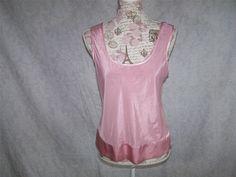 VICTORIA'S SECRET Cami Top S Sheer Pink Sleeveless Scoop Neck Satin Trim #VictoriasSecret #camisole