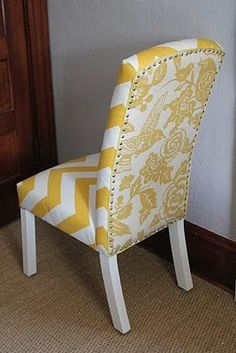 Possible idea but might be too hevy unless its your chair for your esk!  fabric covered chairs. I love the mix of fabrics! And the yellow. And the chevrons of course!