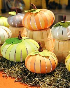 paper pumpkins for fall window display