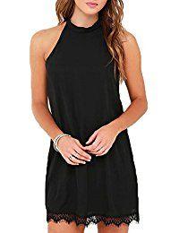 5143b9d67b Women s Sleeveless Halter Neck Patchwork Lace Mini Casual Shift Dress Gq  Fashion