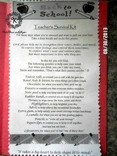 teacher survival kit poem gift basket DIY