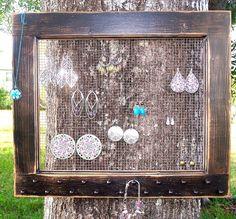 Jewelry Organizer Jewelry Display Jewelry Storage by via Etsy. Jewellery Storage, Jewelry Organization, Jewellery Display, Earring Storage, Earring Display, Storage Organization, Storage Ideas, Jewelry Holder, Women's Jewelry