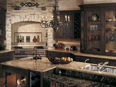 Tuscan Kitchen Stone - I want this kitchen