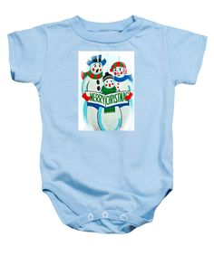 Christmas Baby Onesie featuring the photograph Singing Snowman Family by Cynthia Guinn