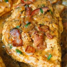 Chicken with bacon mustard sauce (Substitute smoked duck breast for bacon) Paleo Recipes, Low Carb Recipes, Cooking Recipes, Free Recipes, Le Diner, Pressure Cooker Recipes, Pressure Cooking, Chicken Recipes, Chicken Bacon