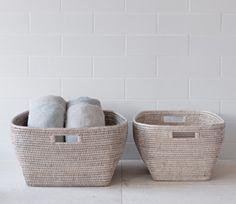 Sablon White-Washed Rattan Storage Baskets