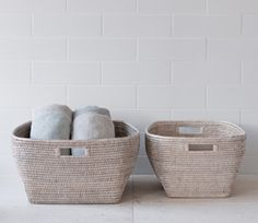Sablon White-Washed Rattan Storage Baskets