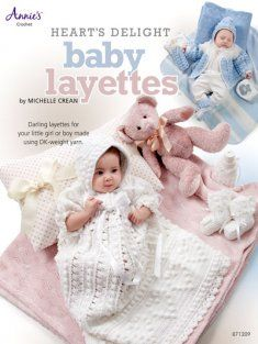 """http://www.MaggiesCrochet.com  Hearts Delight Baby Layettes.  Girl's set includes a white christening gown with puff sleeves embellished with crocheted lace edging, matching booties, bonnet and bottle cover. Boys' set includes a dashing blue sweater with a white yoke and a matching bonnet, booties and bottle cover all trimmed in white. Both are sizes for 0-3 mos and 3-6 mos. Afghan is 36"""" x 43 1/2"""" and is made in white to compliment both ensembles. Both sets are stitched using DK weight yarn..."""