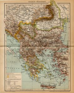 BALKAN PENISULA MAP from 1893 by OjiochaPrints on Etsy Page Maps, Historical Maps, Antique Maps, Vintage World Maps, Ottoman, Antiques, Etsy, Cards, Old Maps