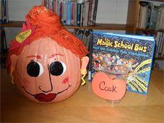 Frizzle pumpkin for book character pumpkin project! Cute Halloween, Halloween Pumpkins, Halloween Decorations, Pumpkin Contest, Pumpkin Ideas, Pumpkin Face Paint, Pumpkin Painting, Book Projects, School Projects
