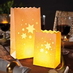 Set 10 lanterne decorative a sacchetto Stelle Luminaria
