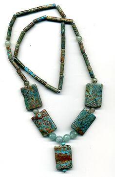 Calsilica  jade and adventurine bead necklace-32.00