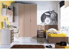 Dormitorio con armario rincón curvo-recto 2p