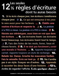 Educational infographic : 12 regles d ecriture dont tu auras besoin Writing Advice, Writing A Book, Writing Prompts, Fiction Writing, Writing Motivation, French Expressions, French Classroom, Writing Challenge, Teaching French