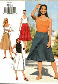 Classic wrap skirt to sew. Butterick 3526 Pattern uncut 12 14 16 Flared Front Wrap Skirt