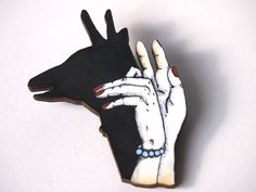 Deer Shadow Puppets with Red Nails Laser Cut Wood by HungryDesigns