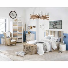 Parure de lit 220 x 240 cm en coton blanche OCÉAN | Maisons du Monde