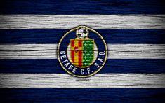 Download wallpapers FC Getafe, 4k, Spain, LaLiga, wooden texture, soccer, Getafe, football club, La Liga, Getafe FC