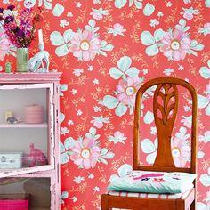 Brewster Wallcoverings Eijffinger Rice Lyse Painted Flower Wallpaper Roomset