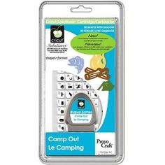 Cricut Solutions Cartridge, Camp Out , Le Camping Get back to nature with the Camp Out cartridge. With graphics of everything from outdoor gear, to scenery, to the multitude of animals that can be found in the wild, this cartridge has everything you need to document those camping and hunting trips.  Features  Shape cartridge for use with all Cricut machines 2 Creative Features: Shadow and Blackout Features camping themed images Great for embellishing paper crafts; keypad overlay included…