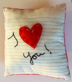 SALE Valentines Day I Heart You Embroidered Pillow From Organic Linen. $15.99, via Etsy.