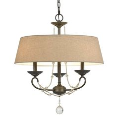 Cal Lighting FX-3532/3 3 LTG Dawson Chandelier with Burlap Shade, 60-watt x 3, Oil Rubbed Bronze/ Crystal *** You can find out more details at the link of the image. (This is an affiliate link and I receive a commission for the sales)