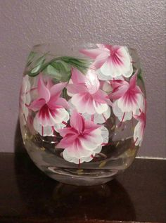 Hand Painted Glass Candle Holder with Fuchsia by TessaRhewsDesigns