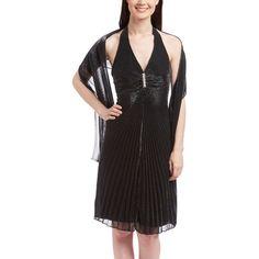 ASpeed Black & Silver Pleated Halter Dress Set ($33) ❤ liked on Polyvore featuring dresses, long halter dress, halter top, sleeveless dress, halter dress en long pleated dress