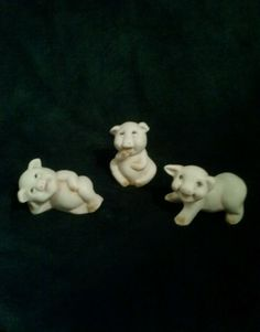 BUY on EBAY! These PIG FIGURINES would make GREAT GIFTS. The ears and mouths have pink on them. The noses have red on them. These pigs are ceramic. The Pigs are Off White with some Brown, Pink and Red. They have Black eyes. | eBay!