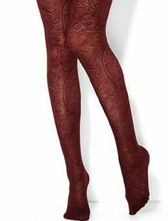 Adorable Burgundy , Paisley Print Tights Adorable Burgundy , Paisley Print Tights NY Collection Accessories Hosiery & Socks