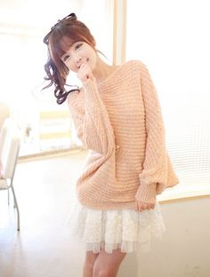 peach over-sized knit with dainty lace skirt