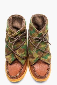 YUKETEN Brown Camo Print wool Moccasin Boots