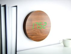 digital wall clock - Although the Walnut Click Clock might not appear to be a digital wall clock at first glance, the product is outfitted with a bevy of features that ...