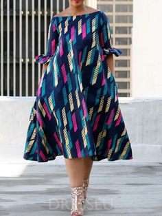 Mid-Calf Half Sleeve Off Shoulder Stripe Expansion Dress
