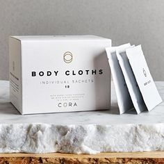 Cora pH Balanced Bamboo Feminine Wipes with Plant-Based Moisturizers and Essential Oils Boxes; Feminine Wipes, Menstrual Cup, Brand Packaging, Body Lotion, Plant Based, Essential Oils, How Are You Feeling, Place Card Holders, Moisturizers