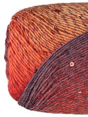 DK & Light Worsted Weight Yarn - Classic Shades Sequins Lite Campfire with burgundy sequins
