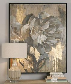 Perfect for a transitional or retro-chic living space, this traditional canvas wall art features a hand-painted floral design with gold leaf accents. This piece is encased in a black satin finish frame and is stretched over stretchers. Oil Painting Abstract, Abstract Canvas, Canvas Wall Art, Blue Abstract, Painting Art, Gold Leaf Art, Artwork, Retro Chic, Satin Finish