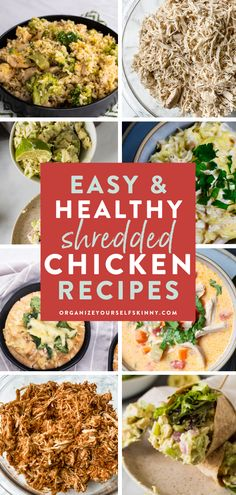 Make a quick batch of chicken and make one of these 25+ healthy shredded chicken recipes to have for dinner this week. From buffalo chicken wraps to baked casseroles, you can easily plan 4 weeks' worth of meal prep with some of these recipes using shredded chicken! Organize Yourself Skinny Healthy Meal Prep   Healthy Lunch Recipes Healthy Eating Grocery List, Healthy Freezer Meals, Easy Healthy Dinners, Healthy Meal Prep, Clean Dinner Recipes, Pasta Dinner Recipes, Dinner Recipes Easy Quick, Lunch Recipes, Healthy Shredded Chicken Recipes