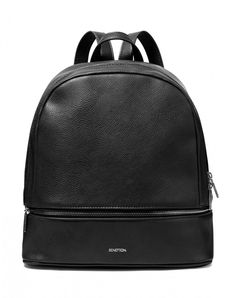 Textured imitation leather backpack, consisting of a main opening and a separate pocket on the bottom, both closed with a metallic zip. Two adjustable straps and a handle allow for double carry: hand or shoulder. Engraved print Benetton logo at front. All