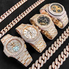The Perfect 💎BustDown Collection Rate This Collection . Cute Jewelry, Jewelry Accessories, Luxury Watches For Men, Audemars Piguet, Luxury Jewelry, Vintage Watches, Swagg, Bracelet Watch, Bracelet Men
