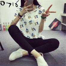 Caliente venta 2016 T recién llegado camisa pato de la historieta impresión ocasional mujeres camiseta de manga corta para camisetas flojas Harajuku Tops(China (Mainland))