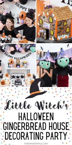 How to throw a cute Little Witch Themed Halloween Gingerbread House Decorating Party for Kids, with decor, table setting ideas and more! Get all the details and tons more Halloween Party inspiration now at fernandmaple.com! Happy Halloween Banner, Halloween Class Party, Halloween Sewing, Halloween Home Decor, Halloween Themes, Halloween Crafts, Holiday Crafts, Halloween Decorations, Halloween Gingerbread House