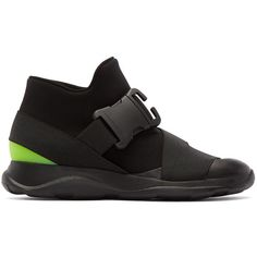 Christopher Kane Black Buckle High-Top Sneakers ($460) ❤ liked on Polyvore featuring shoes, sneakers, buckle shoes, leather shoes, high top leather shoes, leather high top sneakers and leather hi top sneakers